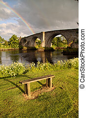 Stirling Bridge and Rainbow - The ancient medieval Stirling...