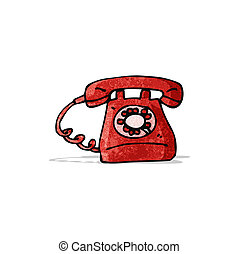 cartoon old style telephone