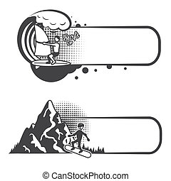 Extreme sports bookmarks with surfing and boarding people...