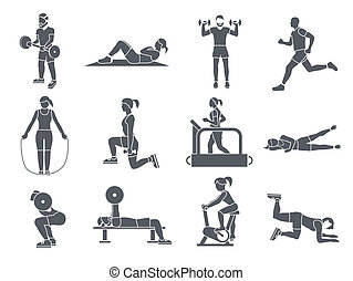 Gym Sport Exercises Icons - Gym sport exercises fitness...