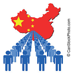 people with China map flag