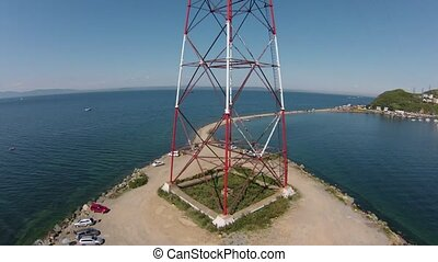 Air view on High voltage tower