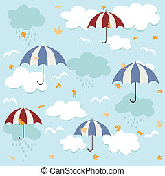 seamless, patrón, paraguas