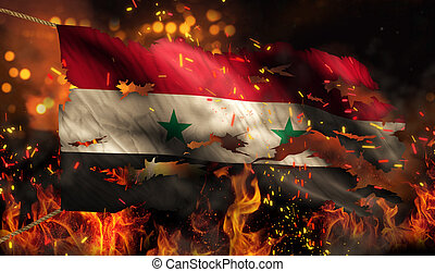 Syria Burning Fire Flag War Conflict Night 3D