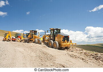 Excavator, digger, earthmover at construction site -...