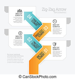 Zig-Zag Arrow Infographic - Vector illustration of zig-zag...