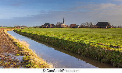 Village on countryside Netherlands - Cute village on dutch...