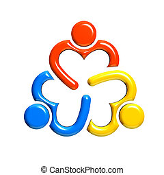 Group of 3 people-heart in circle. 3D design in white...