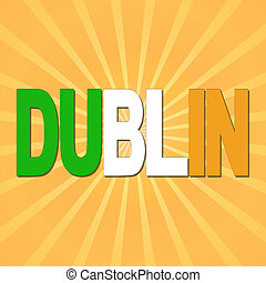 Dublin flag text with sunburst illustration