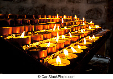 Group of Church Candle in a Row - Votive Candles in a Group...