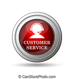 Customer service icon Internet button on white background