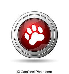 Paw print icon Internet button on white background