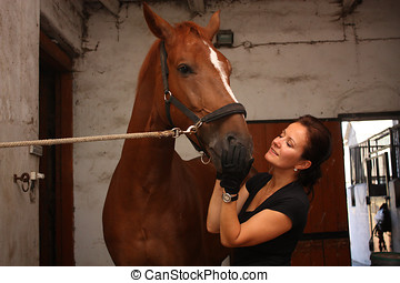 Brunette woman grooming brown horse for the riding in the...