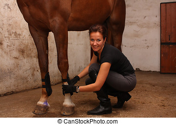 Brunette woman putting tendon boots on horse legs - Brunette...