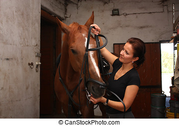 Brunette woman putting on the bridle on brown horse in the...