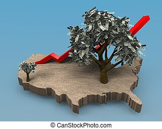 growing money tree in the USA - Cartoon illustrating a...