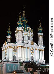 Saint Andrew church at night in Kyiv, Ukraine