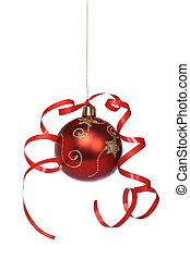 Christmas ball with a ribbon - One red and gold Christmas...
