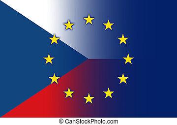 Czech Republic and EU Flag - Czech Republic and European...