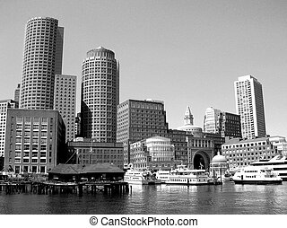 Boston skyline along the harbor