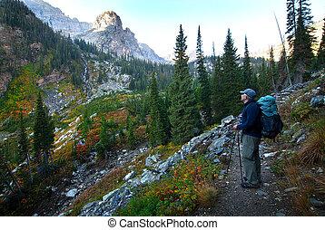 Man Hiking on Mountainside