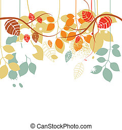 Fall background, tree branches and leaves in bright colors over white