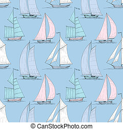 Cute boats sailing on sea seamless pattern