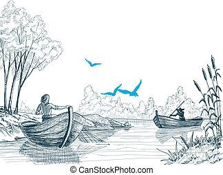 Fisherman in boat sketch, delta, river or sea background in...