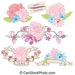 Floral design elements, bouquets and banners