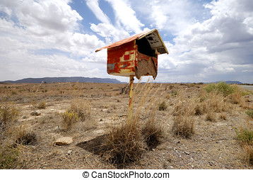 Postbox in the desert - Postbox in the Nullarbor desert,...