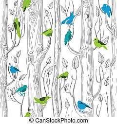 Trees and birds seamless pattern