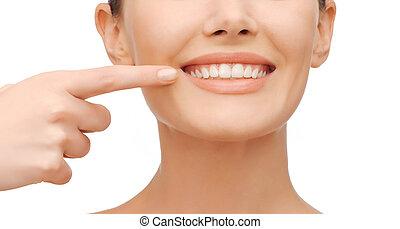 美麗, 婦女, 指, 牙齒