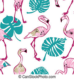 Exotic seamless pattern with pink flamingo