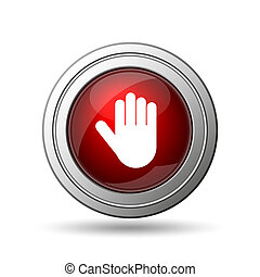 Stop icon. Internet button on white background.