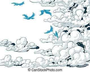 Sky background, clouds and blue birds flying, doodle vector