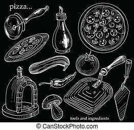Pizza tools for cooking and ingredients set