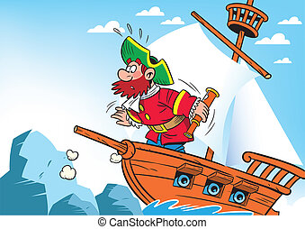 captain of the ship - The illustration shows cartoon the...