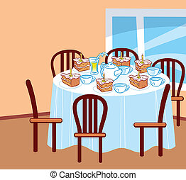 celebratory table - The illustration shows cartoon festive...
