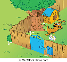 Funny dog in the yard - The illustration shows the part of...