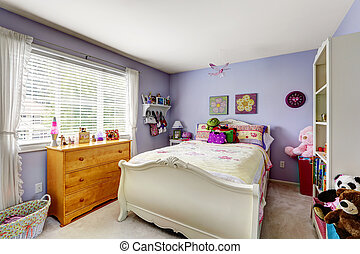 Purple kids room interior