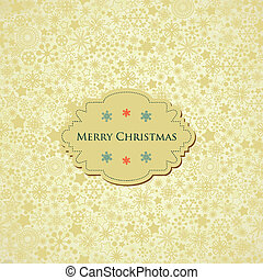 Christmas background, snowflakes pattern and label with text