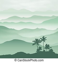 Mountains with palm tree in the fog Background EPS10 vector...