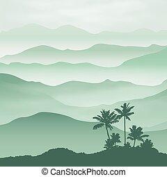 góry, dłoń, drzewo, mgła, tło