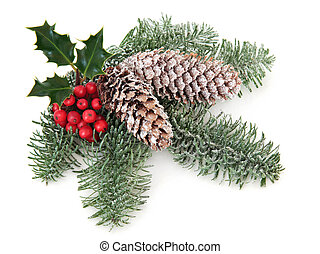 Christmas Greenery - Christmas and winter decoration with...