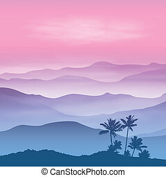 Background with palm tree and mountains in the fog. Sunset...