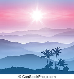 Background with palm tree and mountains in the fog. EPS10...