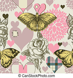Hearts flowers and retro style butterfly seamless pattern