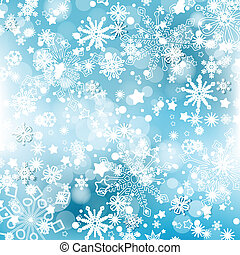 Winter snowflakes background over blue. Christmas design