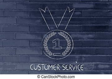 best customer service, gold medal symbol - concept of best...