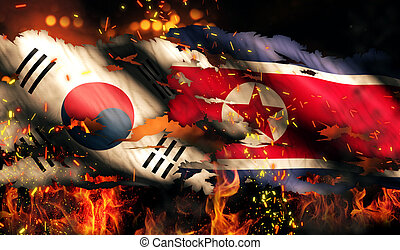 North Korea South Korean Flag War Torn Fire International...